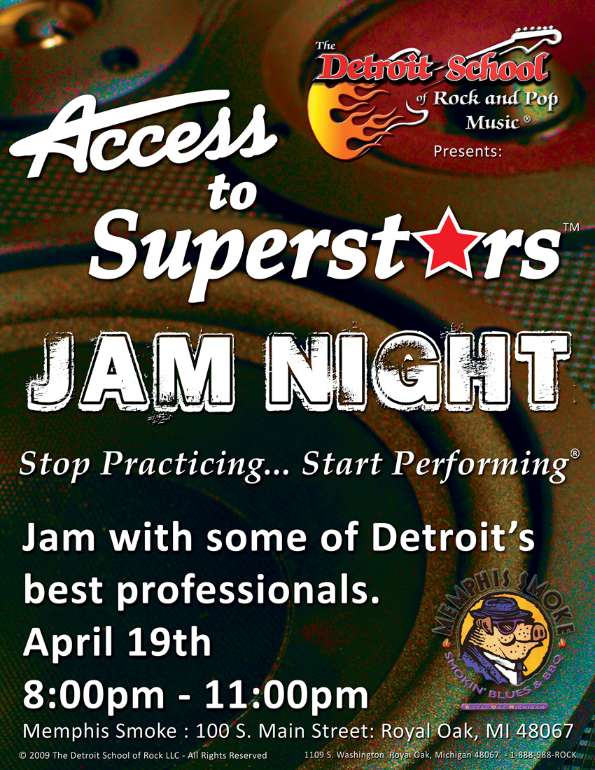 ACCESS TO SUPERSTARS – Jam Night – April 19th at Memphis Smoke
